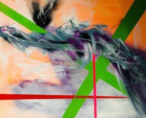 Ursula Schregel, Kabul, 2021, Acryl und Tape auf Leinwand, 100x120cm